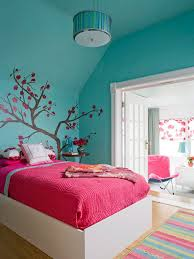 cherry blossom wall decor and bluish green wall for chic teenage