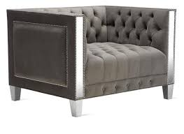 Nailhead Accent Chair Grey Tufted Nailhead Accent Chair