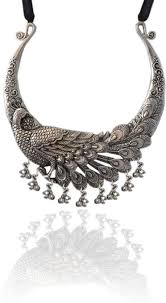 necklace silver india images Sansar india peacock hasli silver plated alloy choker price in jpeg