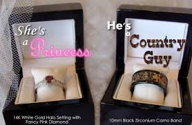 camo wedding rings his and hers opposites attract girly vs rugged s diamond mine