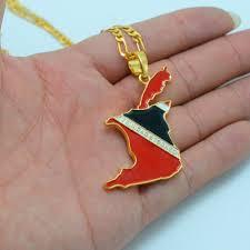 Flag For Trinidad And Tobago Trinidad And Tobago Flag Map Pendant Necklaces For Women Men Gold