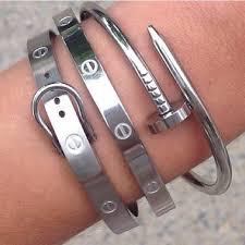 silver love bangle bracelet images Nail style love bangle bracelet oval high from crystalline jpg