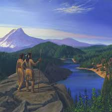 Mountain Landscape Paintings by Indians Painting Indian Village Trapper Western Mountain