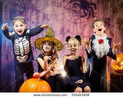 Boys Pumpkin Halloween Costume Group Joyful Children Halloween Costumes Posing Stock Photo