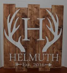 hand painted custom personalized deer antler wood sign last name