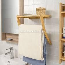 wall mounted bath bamboo towel display rack wooden towel drying