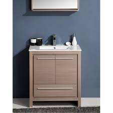 30 In Bathroom Vanities by Allier 30in Gray Oak Modern Bathroom Vanity W Mirror