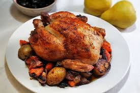 thanksgiving roast chicken and vegetables with pork and farro