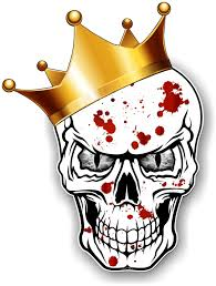 king of skull skulls with grey evil and crown blood