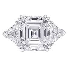three emerald cut engagement rings square emerald cut three engagement ring for sale at
