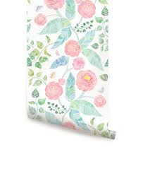 Wallpaper For Walls Teal And Pink Spring Garden Flowers Pink Wallpaper Peel And Stick