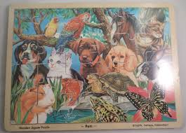 animal pets cats dogs birds bunny wooden jigsaw puzzle 48 pcs by