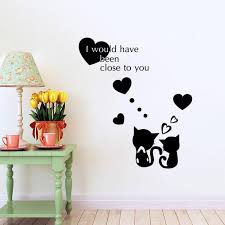 Heart Wall Stickers For Bedrooms 81x70cm English Motto Close To You Cats Lover Heart Wall Sticker