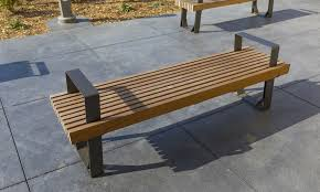 Street Furniture Benches Fuse Benches Contemporary Steel Plate With Ipe Slat Seating