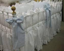 vintage white washed linen crib bedding 2 ruffled