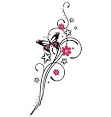 style flower tribal flower butterfly tattoo style royalty free vector