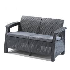shop keter corfu solid cushion gray rattan loveseat at lowes com