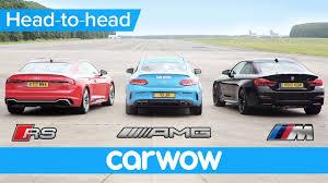 bmw vs audi race audi rs5 v bmw m4 v mercedes amg c63s drag and rolling race
