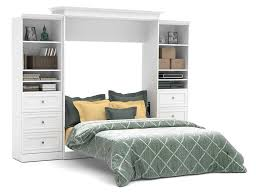 Murphy Bed Bookshelf Bedroom Queen Wall Bed And Storage Units With Drawers In White