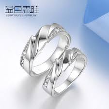 couples rings set images Blue sweet couple rings twisted wave promise rings set 925 jpg