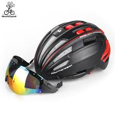 bike riding gear mountainpeak unibody bicycle riding helmet glasses with mountain