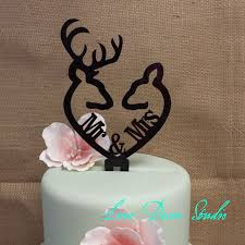 deer cake topper buck and doe heart collection mr mrs buck and deer heart acrylic