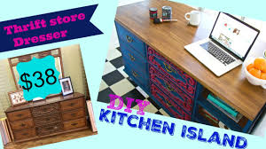 how to make a kitchen island how to make a kitchen island from a thrift store dresser youtube