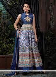 buy digital print work banglori silk blue designer gown online