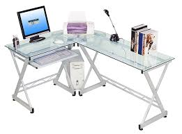 Glass Corner Desks Tempered Glass L Shape Corner Desk With Pull Out