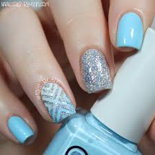 nailsbyerin blue and silver glitter x nails