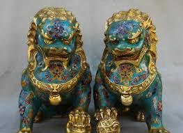 foo dog 10 antique cloisonne enamel bronze foo dog lion statue