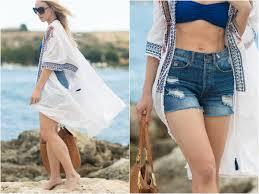 brucoli day poncho cover up u0026 high waist shorts