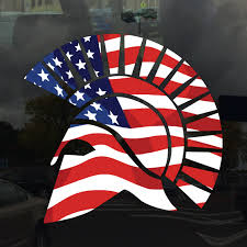 Us Flag Decal American Flag Spartan Helmet Facing Left Vinyl Decal For Outdoor