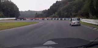 crashed subaru wrx classic mini avoids crash subaru wrx crashes in guard rail