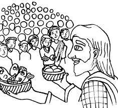 jesus feeds 5000 people coloring page and the coloring page