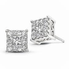 14k white gold earrings 14k white gold 50cttw square ideal cluster diamond stud