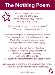 poems about thanksgiving and family the nothing poem a poem about preschool