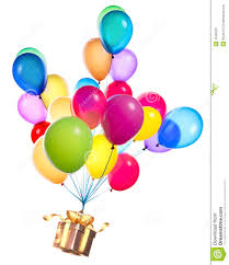 balloons gift gift hanging on color balloons stock image image 35490321