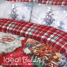 Christmas Duvet Covers Uk Vintage Father Christmas Print Duvet Set And Pillowcase Bedding