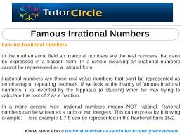 Rational Or Irrational Numbers Worksheet Famous Irrational Numbers By Tutorcircle Team Issuu