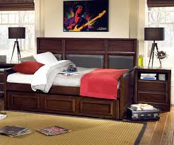 bedroom brown full daybed with nightstand and area rug for home