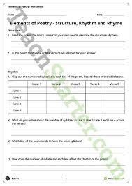 elements of poetry worksheet structure rhyme and rhythm