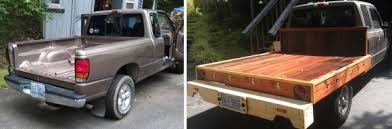 wooden flatbed conversions and a plywood rack for a toyota tacoma