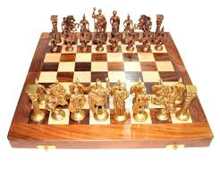 ancient chess chess set brass sculpted pieces in ancient roman style 10404