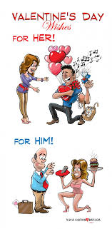 valentines day for her and for him cartoon cartoon