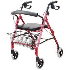 rollator 4 roulettes avec siège avec panier à hauteur variable