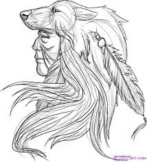 drawn werewolf indian pencil and in color drawn werewolf indian