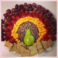 fruit cheese and nut platter for thanksgiving shaped like a