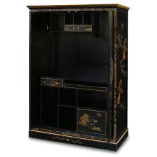 Narrow Computer Armoire furniture chinoiserie scenery design computer armoire in black