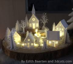 mini lights for christmas village mini scène d hiver village en papier enneigé et illuminé noël